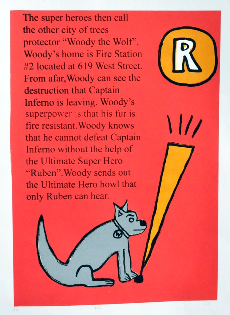 "The super heroes then call the other city of trees protector ""Woody the Wolf."" Woody's home is Fire Station #2 located at 619 West Street. From afar, Woody can see the destruction that Captain Inferno is leaving. Woody's superpower is that his fur is fire resistant. Woody knows that he cannot defeat Captain Inferno without the help of the Ultimate Super Hero ""Ruben."" Woody sends out the Ultimate Hero howl that only Ruben can hear."